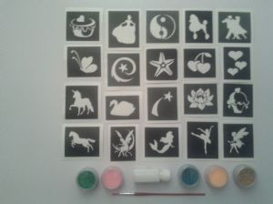 Girl x 20 tattoo stencil set  glitter tattoos + 5 glitter colours      children   Fund Raising  Birthday present